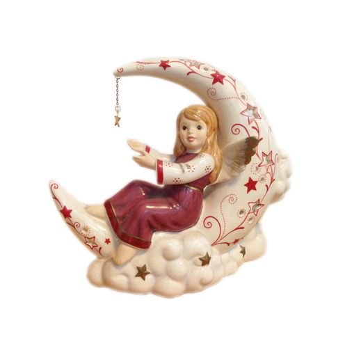 Silent Night - Angel in the Moon with Tealight (Bordeaux-White)
