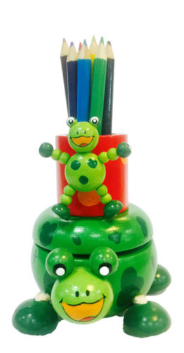 Music Box - Frog With Colored Pencils Wooden Box