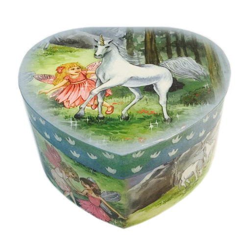 Music box - Heart shaped tin with unicorn motif