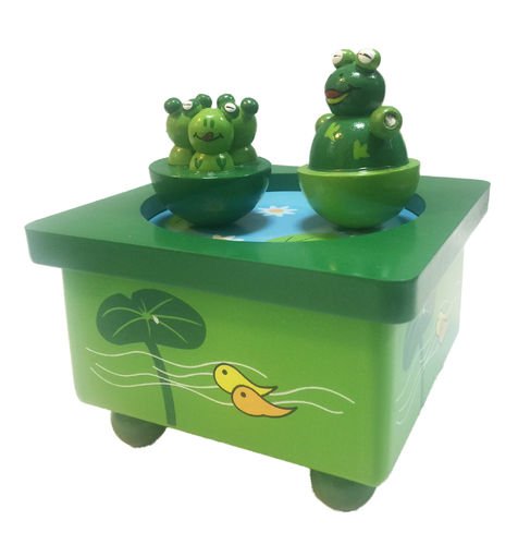 Wooden music box dancing frogs