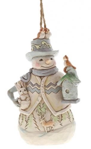 White Woodland Snowman with Birdhouse - Hanging Ornament