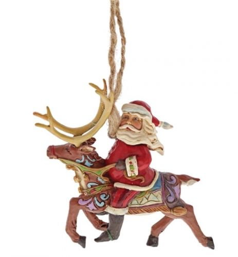 Santa Riding Reindeer - Hanging Ornament